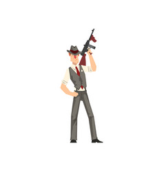 Gangster criminal character in fedora hat with vector