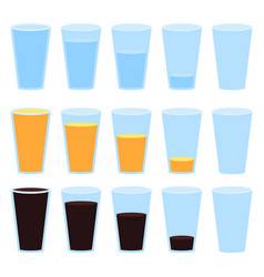 Glass of water juice and soda isolated vector