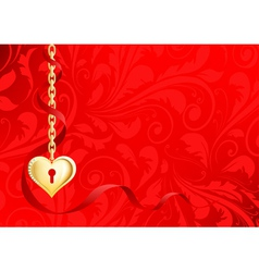 gold heart on a chain on a red background with pat vector image