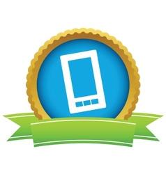 Gold smartphone logo vector image