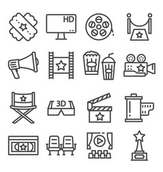 gray line movies icons set vector image