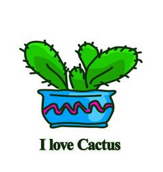 green cactus in blue pot vector image