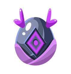 Grey egg with purple horns and square decoration vector