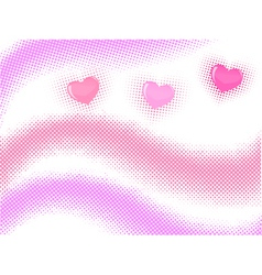 halftone wave with hearts vector image vector image