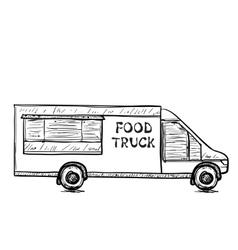 Hand drawn food truck vector
