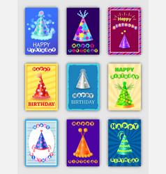 happy birthday postcards set vector image