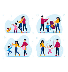 happy family life scenes and moments set vector image