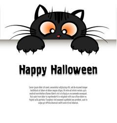 happy halloween and cartoon cat vector image