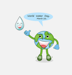 happy world water day march 22 with water drop vector image