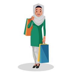 indian muslim woman cartoon vector image