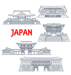 Japanese travel landmarks with thin line buildings vector