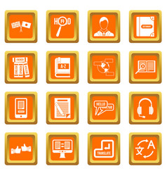 learning foreign languages icons set orange vector image
