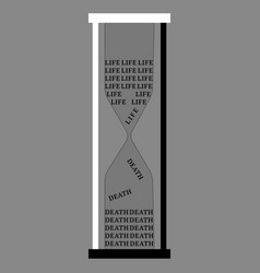 life and death as an hourglass lettering vector image