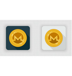 Light and dark crypto currency icon monero vector