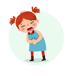 Little girl suffering from stomachache vector