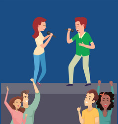 man and woman singing song on stage flat vector image
