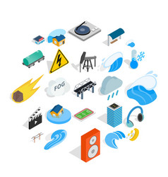 Might icons set isometric style vector