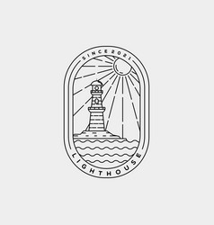 Minimalist lighthouse harbor line art logo vector