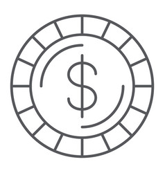 Money coin thin line icon finance and money cent vector