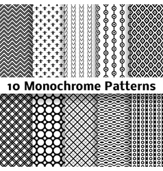 Monochrome different seamless patterns tiling vector