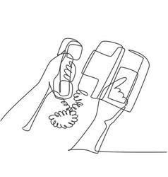 Old retro analog telephone concept one single vector