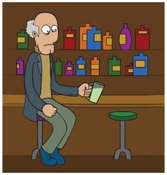 Oldman at bar cartoon vector image