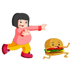 Overweight woman chasing hamburger cartoon vector