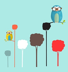 Owls on Trees Simple Flat Design Retro Cartoon vector image
