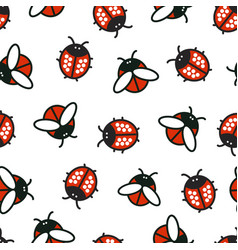 Pattern with ladybirds and beetles vector