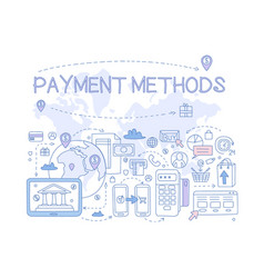 payment methods set credit card mobile app atm vector image