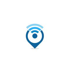 Pin wifi logo icon design vector