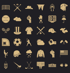 play baseball icons set simple style vector image