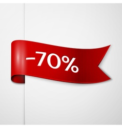 Red ribbon with inscription seventy percent vector