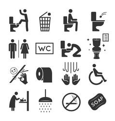 restroom icon set washroom and bathroom symbols vector image