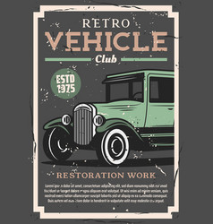 Retro cars repair vintage auto club vector