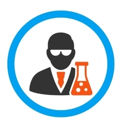 Scientist With Flask Rounded Icon vector image