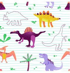 seamless cartoon dinosaurs pattern baby background vector image