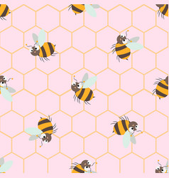 seamless pattern with cute cartoon bee and vector image