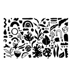 set of creative universal floral elements hand vector image