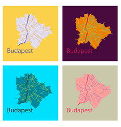 Set of flat scheme of the budapest hungary city vector