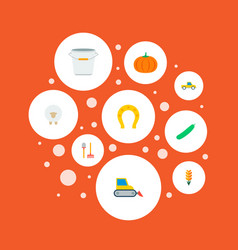 set of harvest icons flat style symbols with sheep vector image