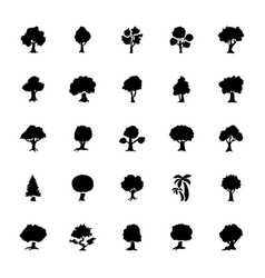 Set of trees glyph icons set vector