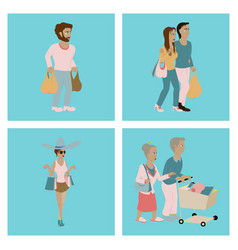 Set people shopping vector