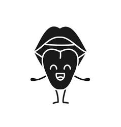 smiling tongue emoji glyph icon vector image
