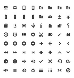 Solid monochrome software icons set vector