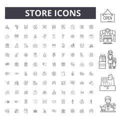 store line icons signs set outline vector image