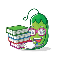 student with book peas mascot cartoon style vector image
