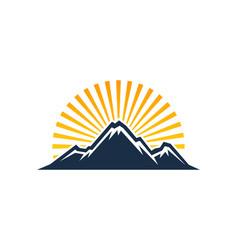 Sunlight mountain logo icon design vector
