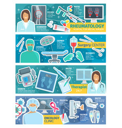 Surgery therapy oncology and rheumatology banner vector