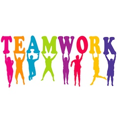 Teamwork concept with colored women and men vector